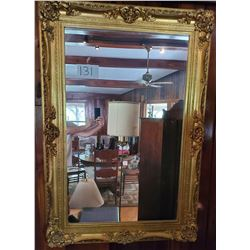 "Beautiful Baroque carved mirror with gold finish - approx 58""h x 40""w"