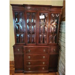 Beautiful Antique Secretary   DROP FRONT  -bowed type glass in doors -3 shelves u