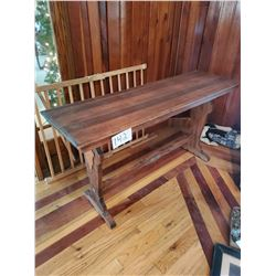 "Antique Wooden Sofa table - appears walnut finish - approx 18"" x 60""l x 31""h"