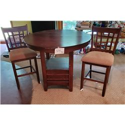 "3 pc Wooden table - 2 chairs - approx 42""d x 36""h"