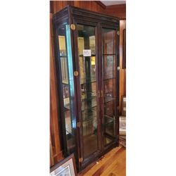 Beautiful Mahogany Finish 2 door curio cabinet - nice detail carvings - approx 34w x 15d x 81h - 4 a