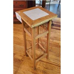 "Oak Wooden Stand with Spindle type upper portion - approx 40""t with ceramic top"