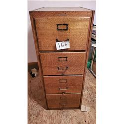 "Antique 1/4 Oak 4 drawer filing cabinet by ""The Wabash Cabinet Co."" in Wabash, Indiana - approx 20 1"