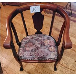 "Beautiful Curved Back Chair with graceful, pawfoot legs, embroidered seat fabric - approx 31""t x 27"""