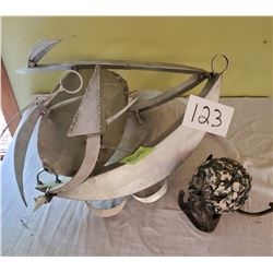 Pair of art work - Large Aluminum possibly marine design and smaller iron with ball – approx: Alumin