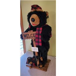 """""""Welcome"""" Christmas Bear with Scord and Hat with cub 40""""h x 21""""w x 12"""" d"""