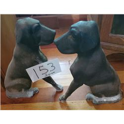 """Pair of Cast Iron dog (retreiver) fireplace and irons - approx 14""""h x 12""""w x 15""""d"""