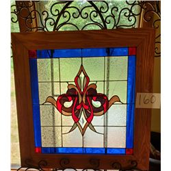 """Beautiful Framed Stained Glass Panel - approx 28"""" x 28"""" - colors: clear, burgundy, navy, white, pink"""