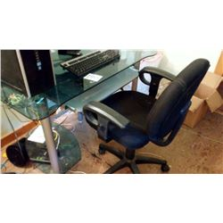 Office Chair and Glass Top Computer Desk w/ Keyboard Tray, Monitor Stand