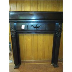 SOLID (HEAVY) CARVED ANTIQUE FIREPLACE FULL MANTEL
