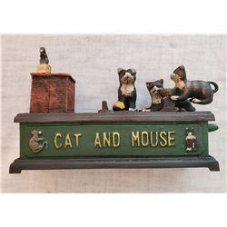 """CAT AND MOUSE"" Vintage High End Cast Iron Mechanical Bank, New, Still In Box"