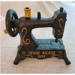 """SEWING MACHINE BANK"" Vintage High End Cast Iron Mechanical Bank, New, Still In Box"