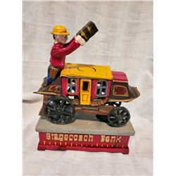"""STAGECOACH BANK"" Vintage High End Cast Iron Mechanical Bank, New, Still In Box"