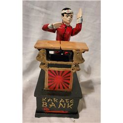 """KARATE BANK"" Vintage High End Cast Iron Mechanical Bank, New, Still In Box"