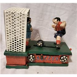 """SOCCER"" Vintage High End Cast Iron Mechanical Bank, New, Still In Box"