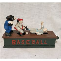 """BASEBALL"" Vintage High End Cast Iron Mechanical Bank, New, Still In Box"