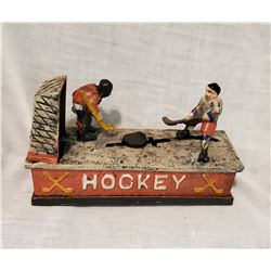 """HOCKEY"" Vintage High End Cast Iron Mechanical Bank, New, Still In Box"