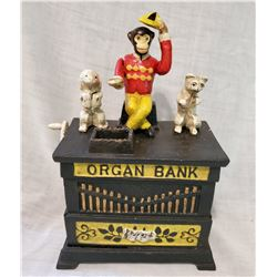 """ORGAN BANK"" Vintage Keyser & Rex High End Cast Iron Mechanical Bank, New, Still In Box"