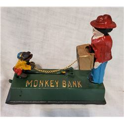 """MONKEY BANK"" Vintage High End Cast Iron Mechanical Bank, New, Still In Box"