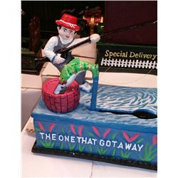 """THE ONE THAT GOT AWAY"" Vintage High End Cast Iron Mechanical Bank, New, Still In Box"