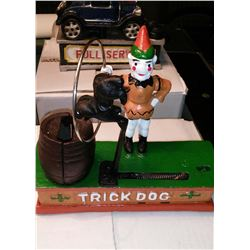 """TRICK DOG"" Vintage High End Cast Iron Mechanical Bank, New, Still In Box"