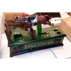 """SHOW JUMPER"" Vintage High End Cast Iron Mechanical Bank, New, Still In Box"