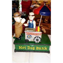 """HOT DOG BANK"" Vintage High End Cast Iron Mechanical Bank, New, Still In Box"