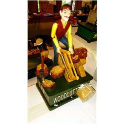 """WOODCUTTER"" Vintage High End Cast Iron Mechanical Bank, New, Still In Box"