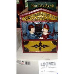 """PUNCH AND JUDY BANK"" Vintage Book of Knowledge Cast Iron Mechanical Bank, New, Still In Box"
