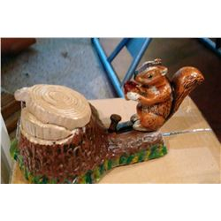 SQUIRREL AND TREE STUMP Vintage High End Cast Iron Mechanical Bank, New, Still In Box