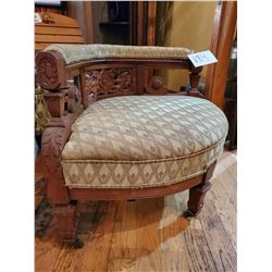 Antique Carved Wooden Corner Chair on Castor Wheels