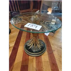 Vintage Hollywood Regency Gilt Metal Wheat Sheaf Table