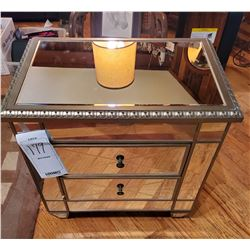 Vintage Two Drawer Mirrored Accent Cabinet