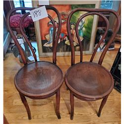 Pair of Vintage Wooden Ice Cream Parlor Chairs