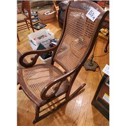 Antique  Wood and Cane  Rocking Chair