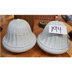 Pair of Antique Ceramic ceiling Light Covers
