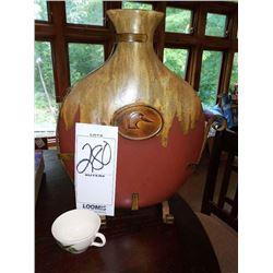 """Large 19"""" Drip Glazed Vase on Iron  Stand"""