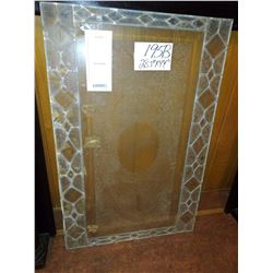"Vintage Etched Glass Panel, Leaded Glass Boarders 28.5"" X 44"""