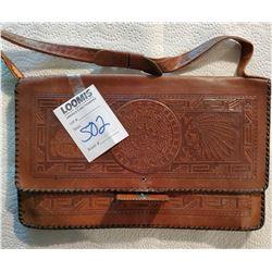 Vintage Native American Tooled Leather Handbag
