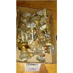 Antique  Doorknobs and Shafts, Mostly Brass, and Fluted Crystal