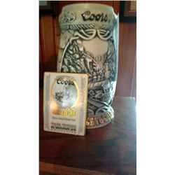 """Coors Beer Collector's Stein, """"Passage to Gold"""" from the Rocky Mountain Ironhorse Collection"""