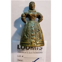 Vintage Metal Bell / Victorian Lady Figurine