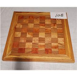 "Hand Made Wooden Chess/Checker Board 17"" x 17"""