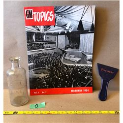 GR OF 3, FIRESTONE SCRAPER, ACID BOTTLE & 1954 GM 'TOPICS' MAGAZINE
