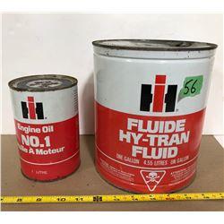 IH 1 GAL HY-TRAN FLUID TIN  & 1 L ENGINE OIL - FULL