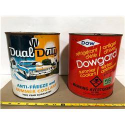 DUAL DUTY & DOW 1 GAL ANTI-FREEZE TINS