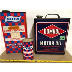 2 X STEED TINS & DOMNOL MOTOR OIL