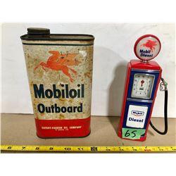 MOBILOIL OUTBOARD OIL TIN & DECO MOBIL DIESEL PUMP