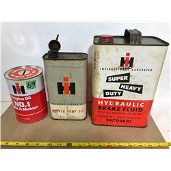 3 X IH TINS - MILKER PUMP OI, BRAKE FLUID & ENGINE OIL