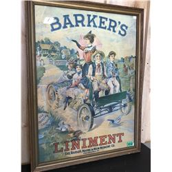 BARKER'S LINIMENT ADVERTISING POSTER - FRAMED